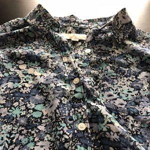 LOFT Sheer Floral Button-down Shirt